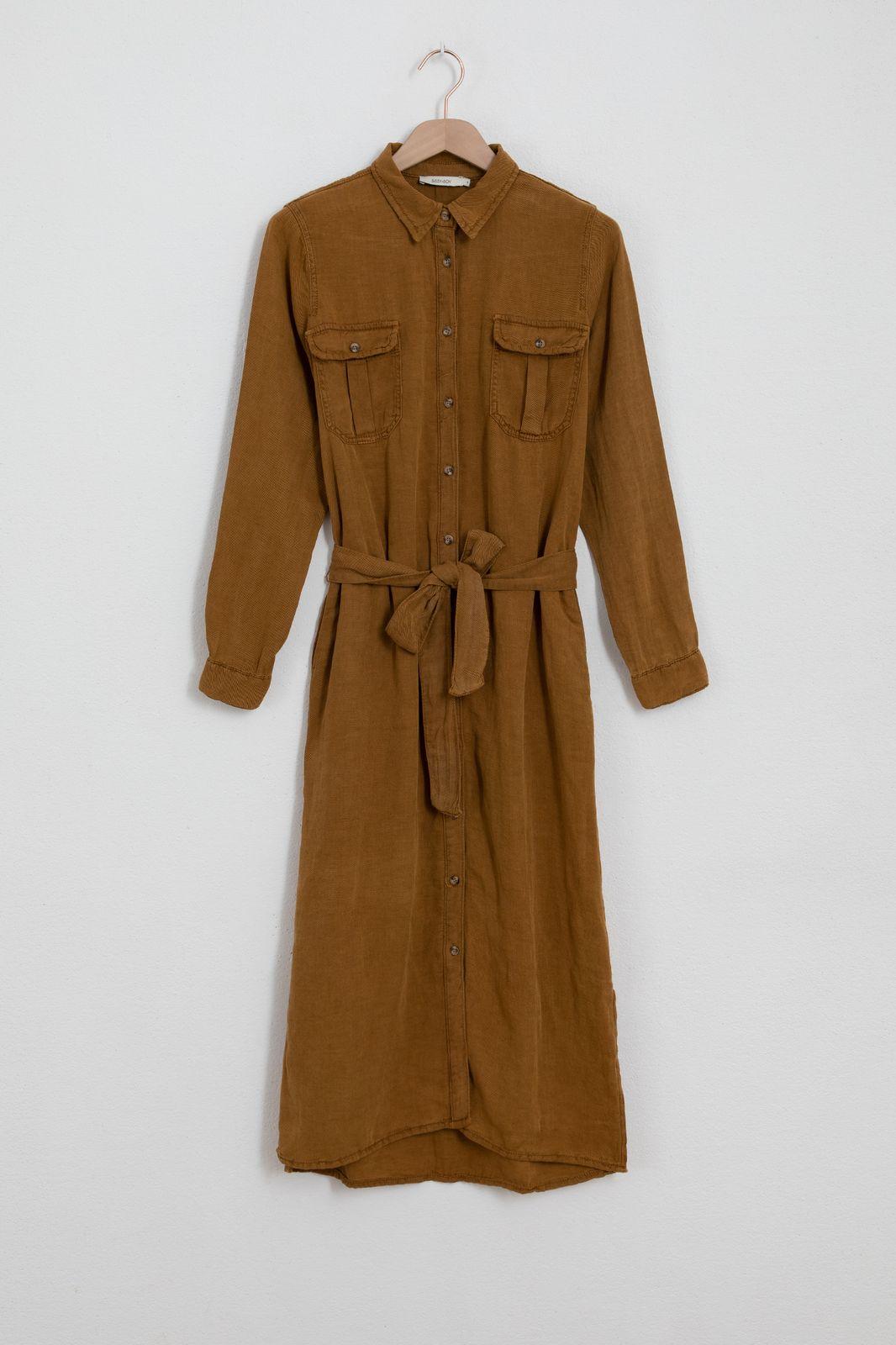 Okergele garment dye midi jurk