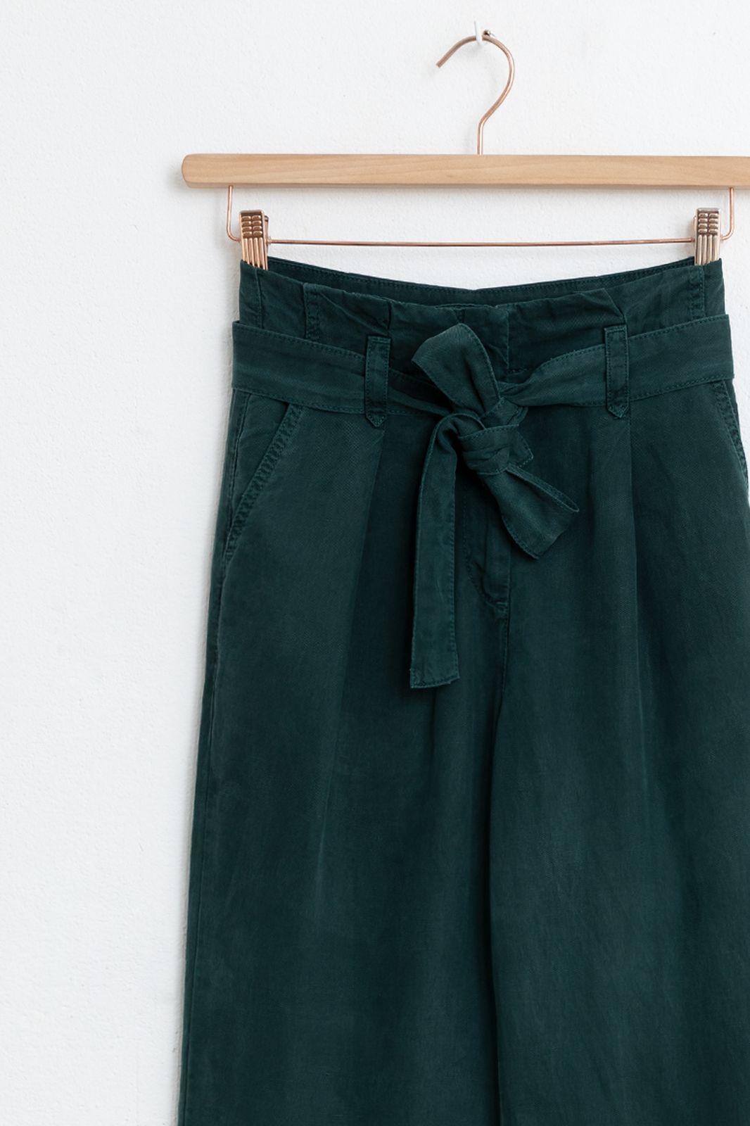 Donkergroene paperbag pantalon