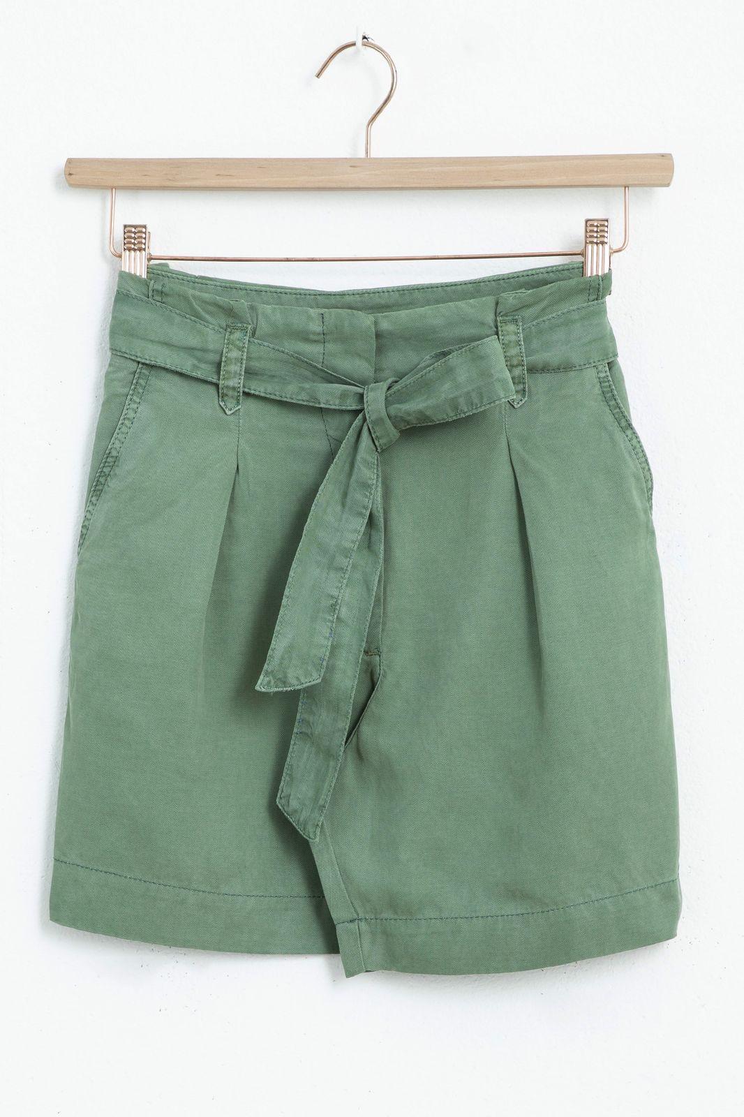 Groene high waist paperbag short - Dames | Sissy-Boy