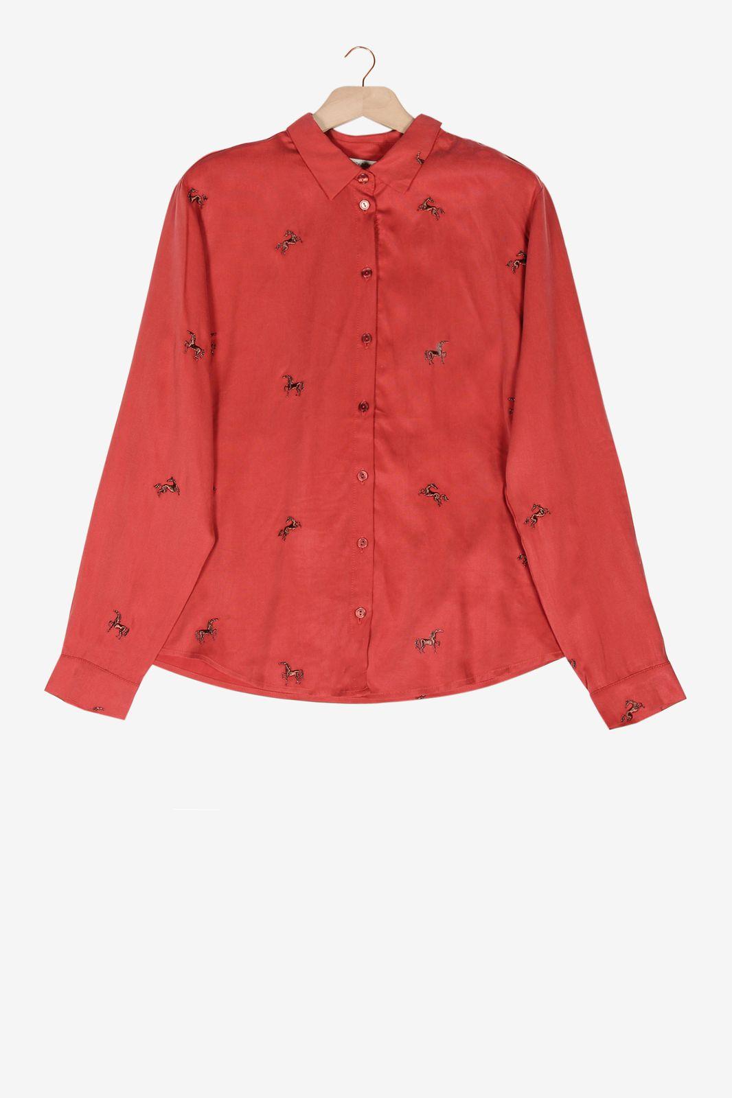 Rode blouse met paarden - Dames | Sissy-Boy