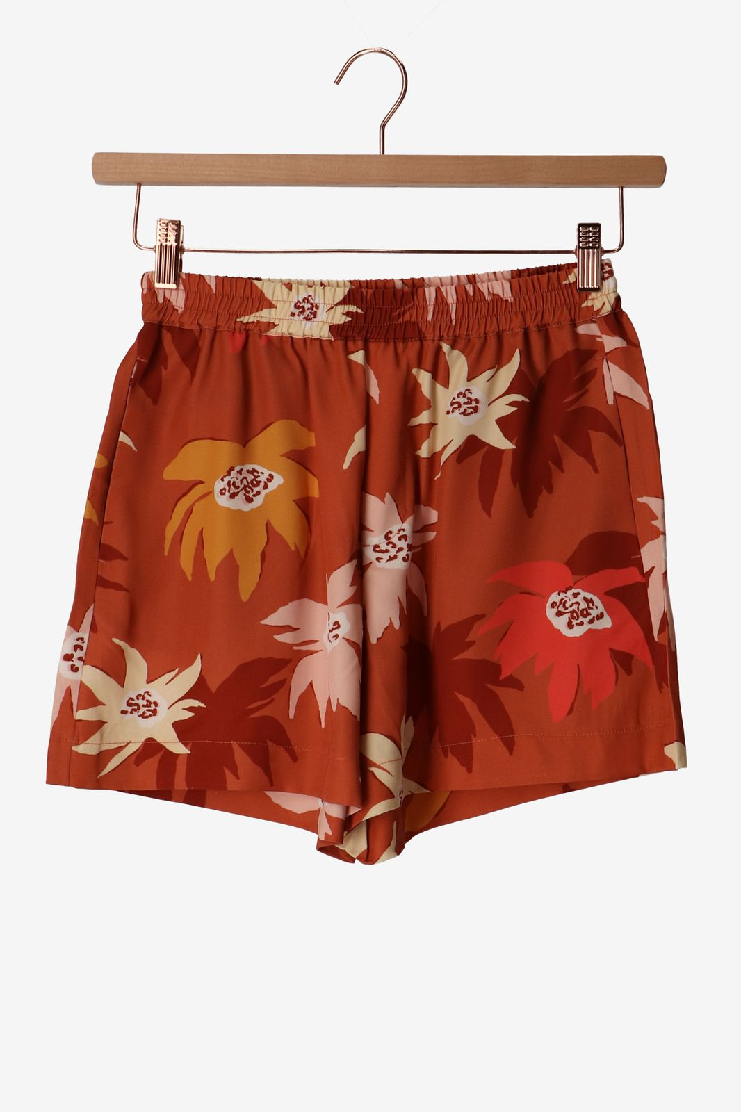 Rood tencel shortje met bloemenprint - Dames   Sissy-Boy
