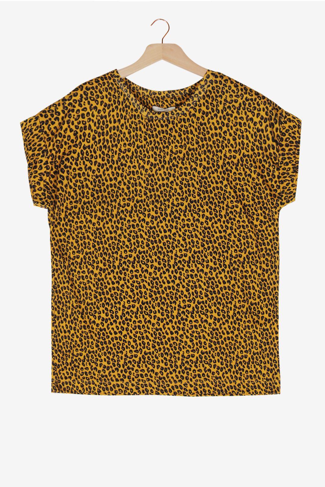 Okergeel panterprint T-shirt