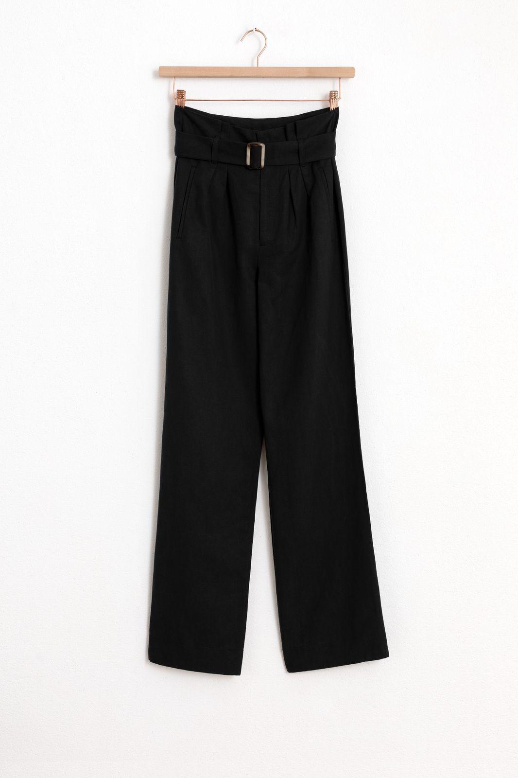 Zwarte paperbag broek wide leg - Dames | Sissy-Boy