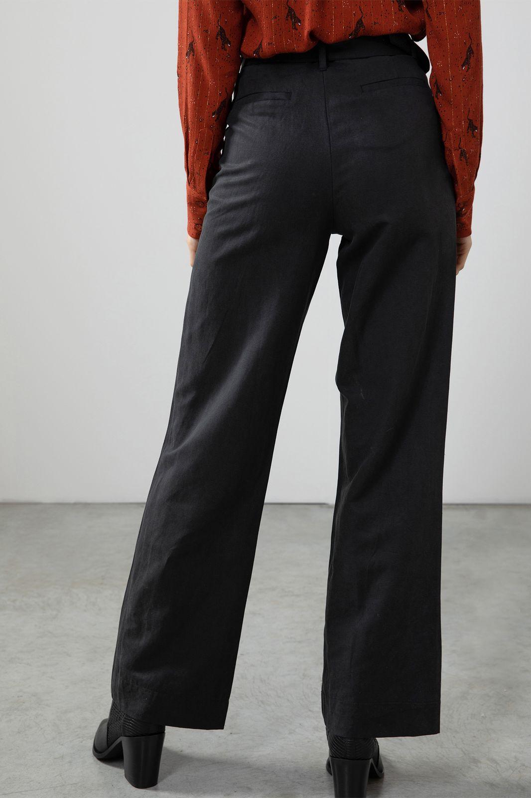 Zwarte paperbag broek wide leg