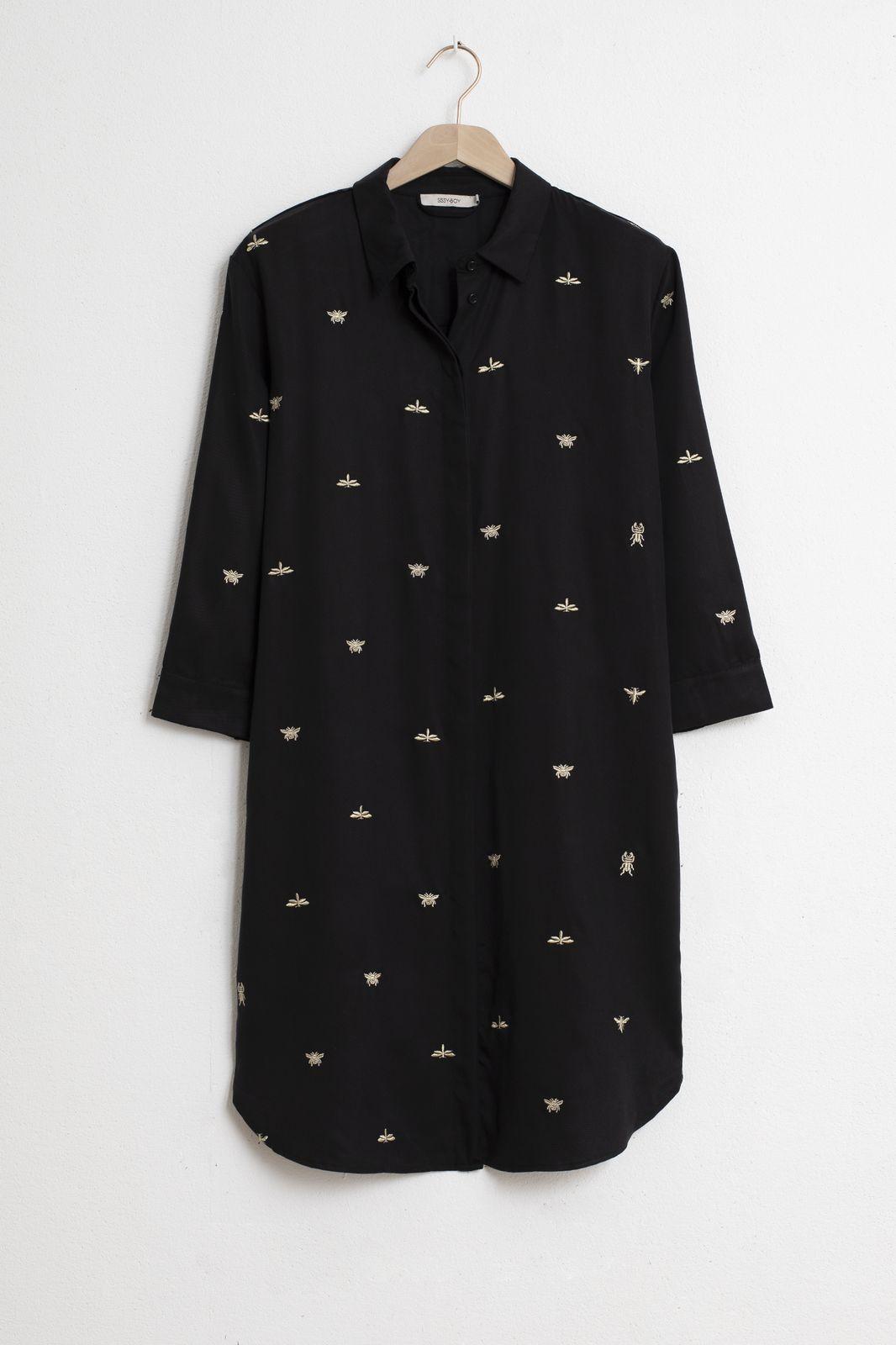 Zwarte jurk met all over gouden borduursels - Dames | Sissy-Boy