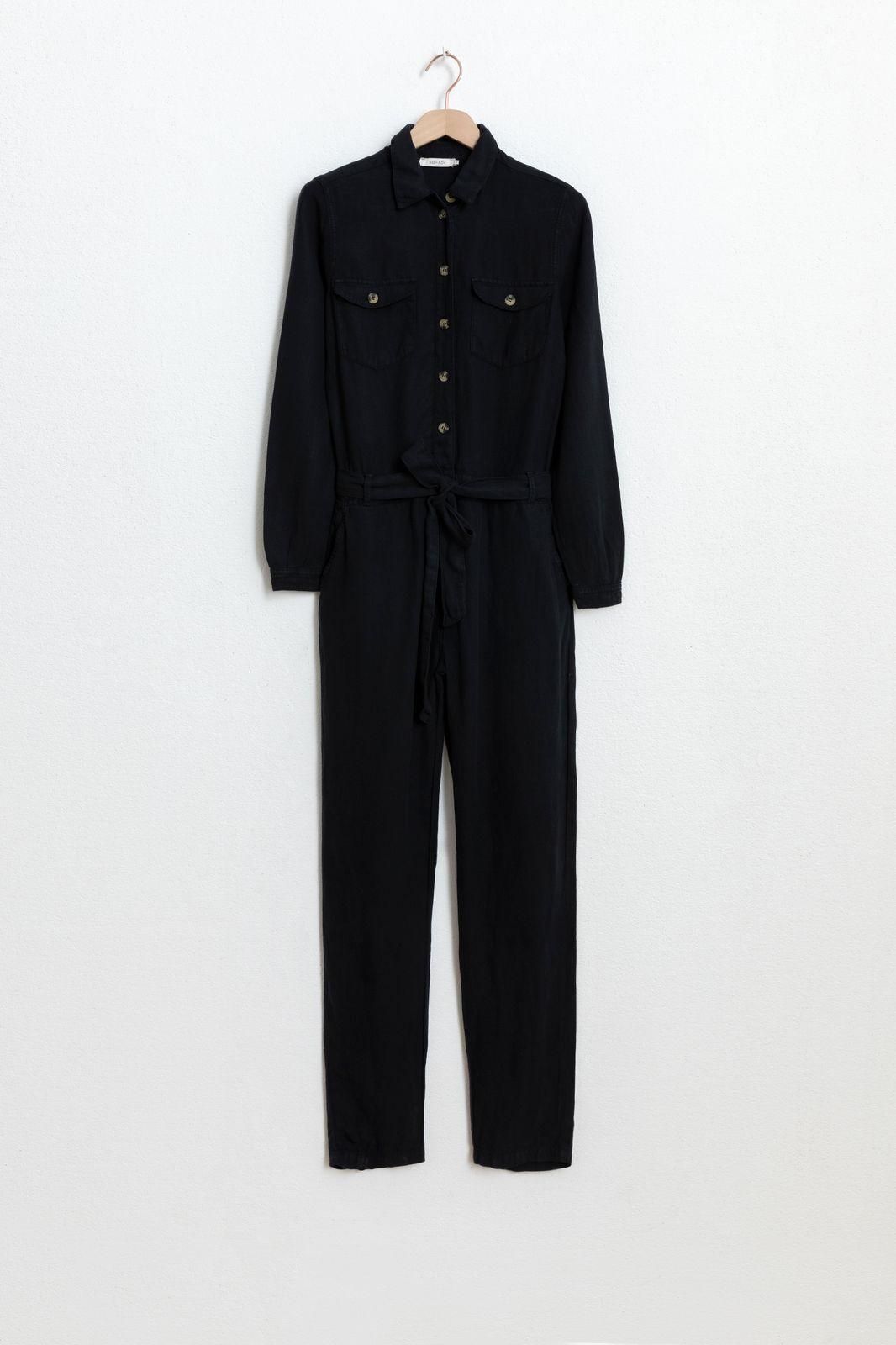 Zwarte garment dye jumpsuit - Dames | Sissy-Boy