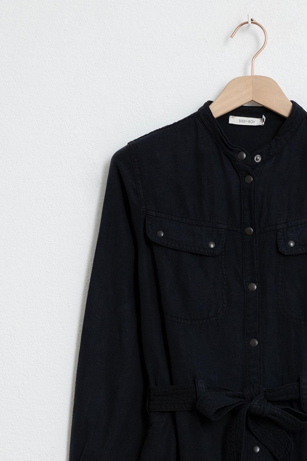 Zwarte garment dye jurk - Dames | Sissy-Boy
