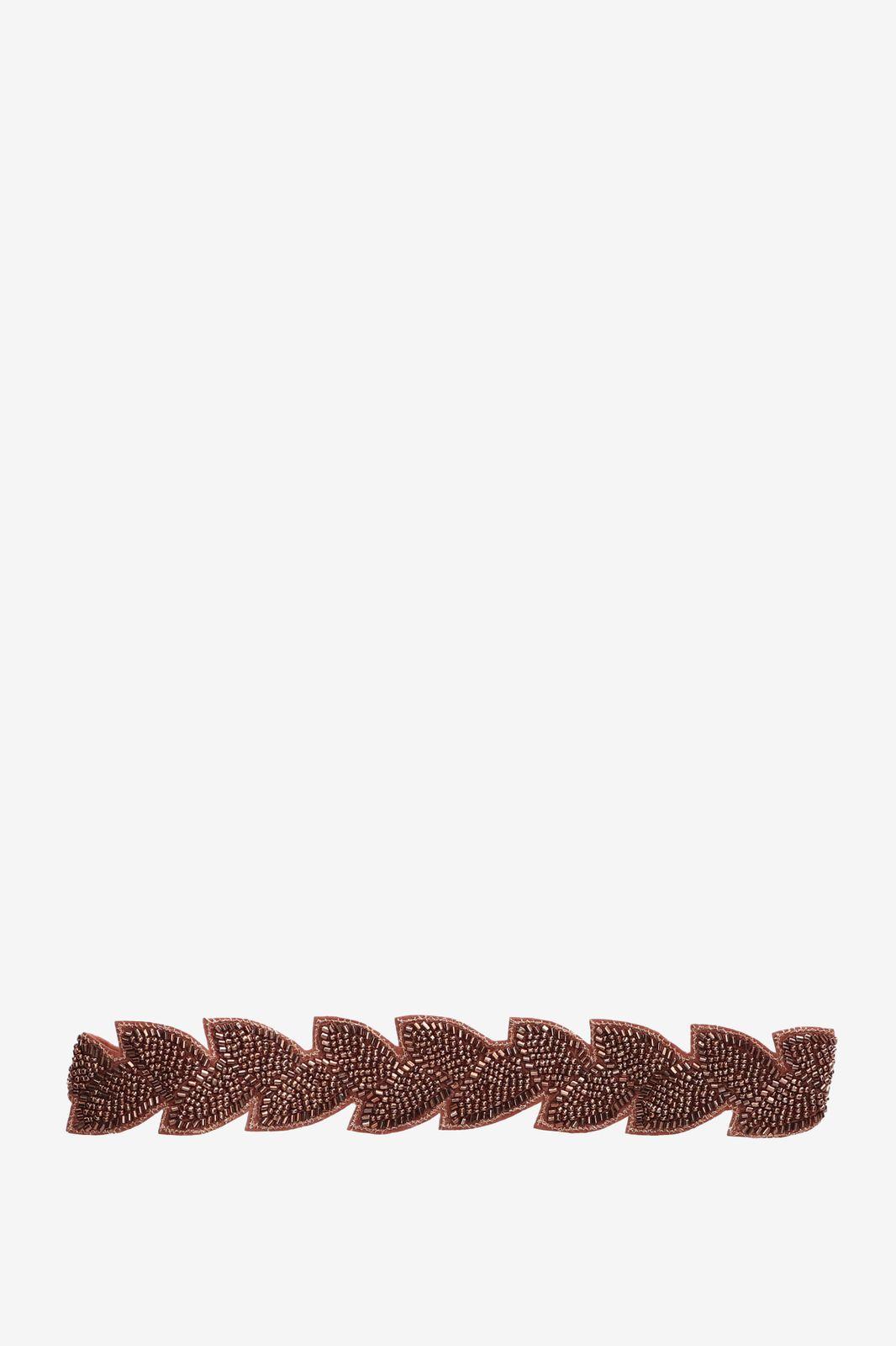 Bronskleurige haarband met kraaltjes - Dames | Sissy-Boy