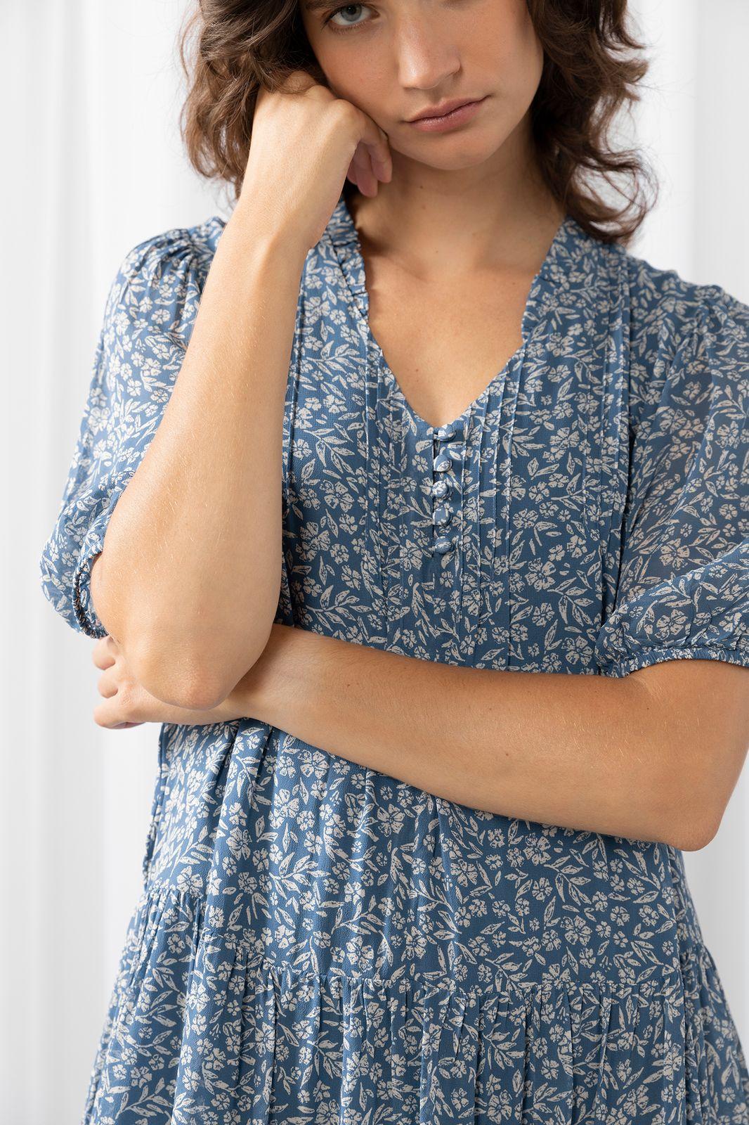 Blauwe mini jurk met bloemenprint - Dames   Sissy-Boy