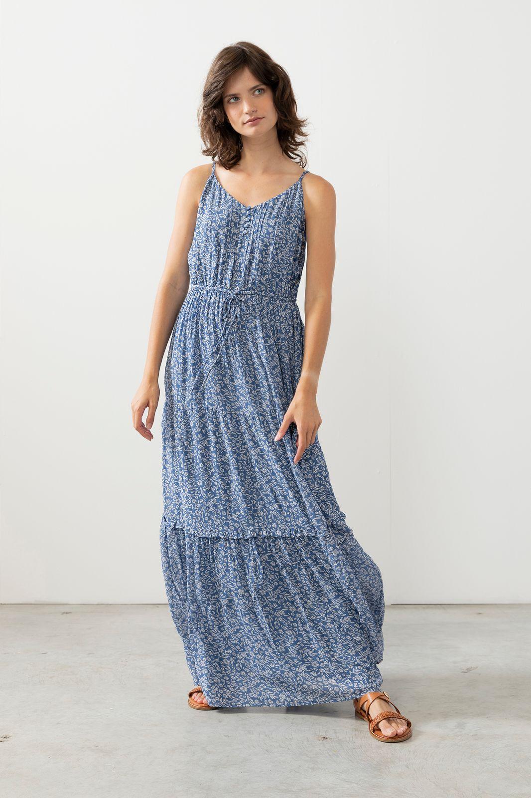 Blauwe maxi jurk met bloemenprint - Dames | Sissy-Boy