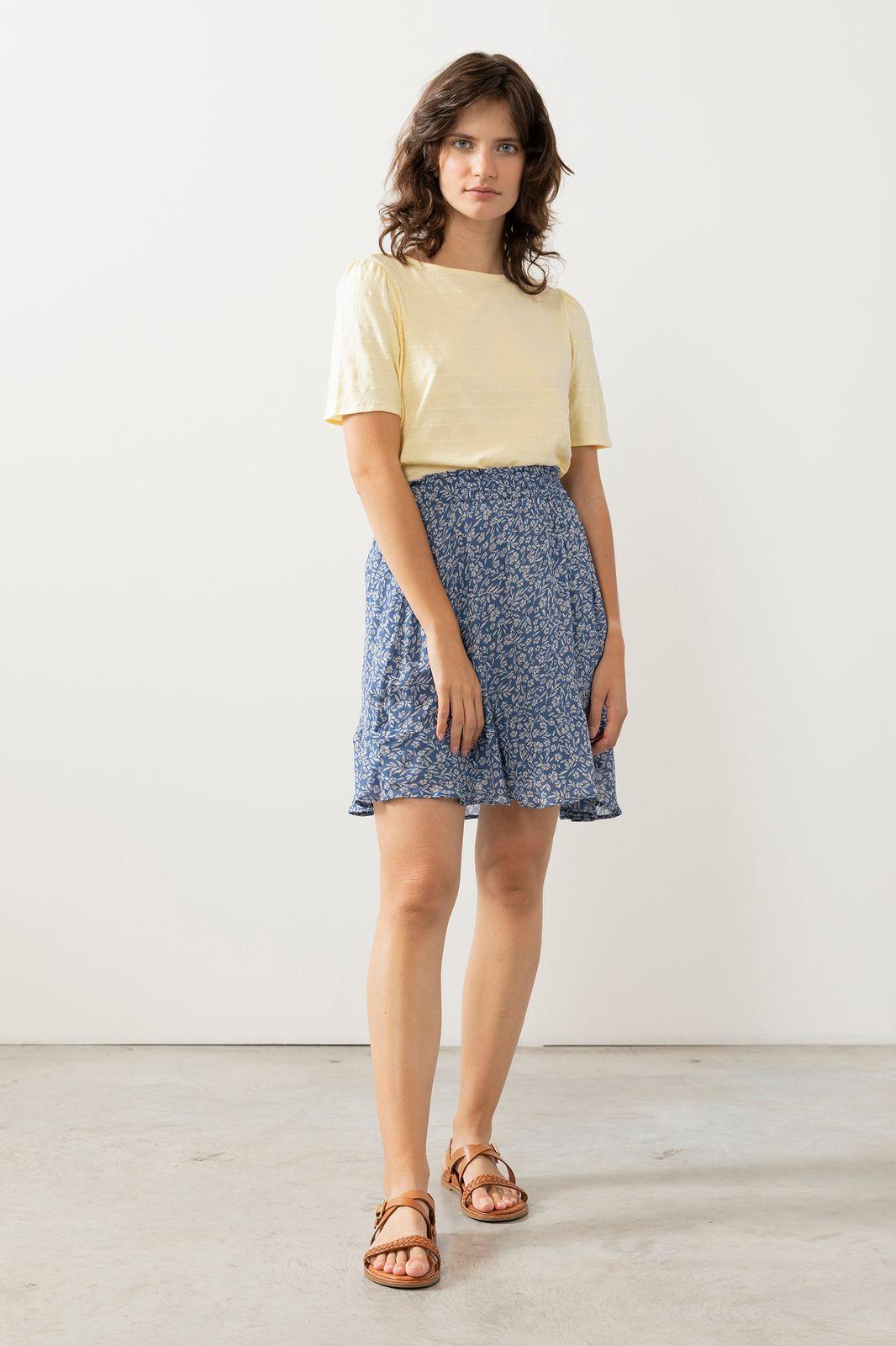 Blauwe mini rok met bloemenprint - Dames   Sissy-Boy