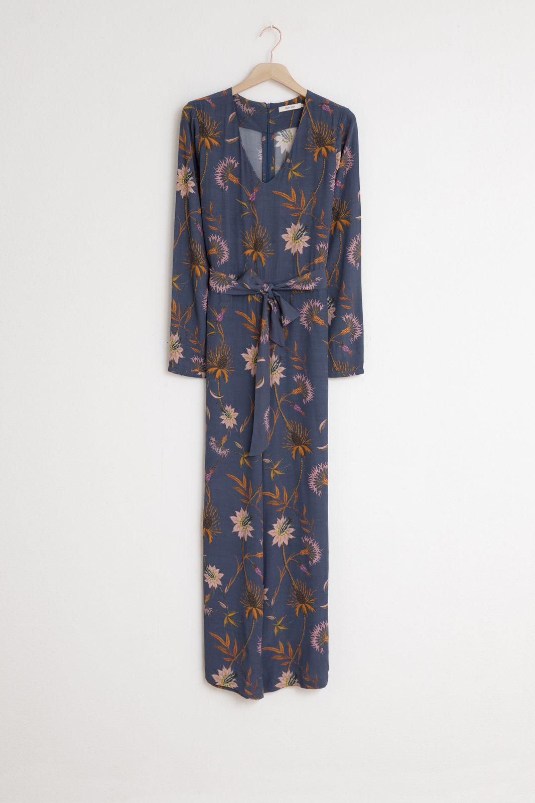 Blauwe jumpsuit met bloemenprint - Dames | Sissy-Boy