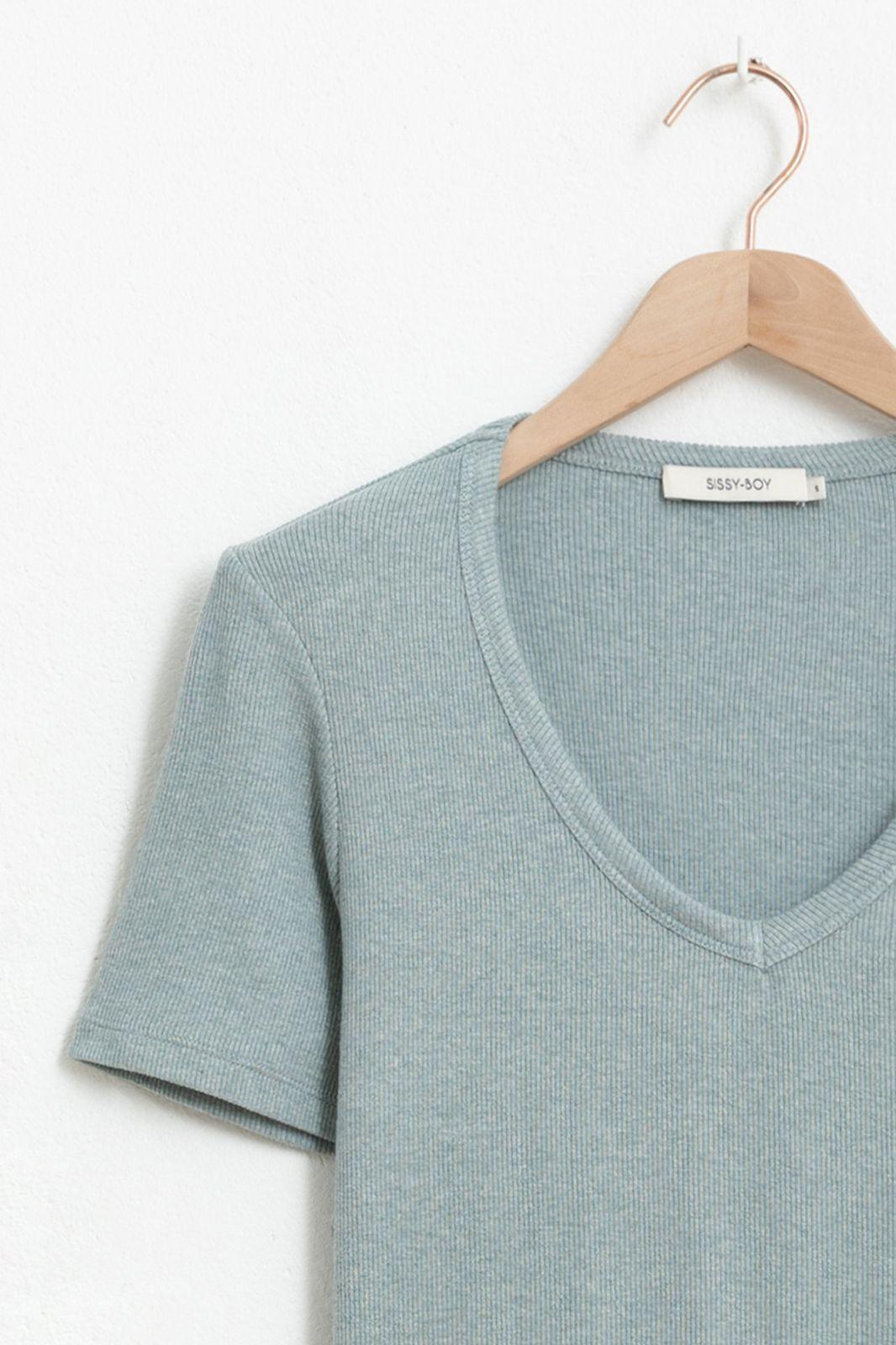 Blauw V-neck rib T-shirt
