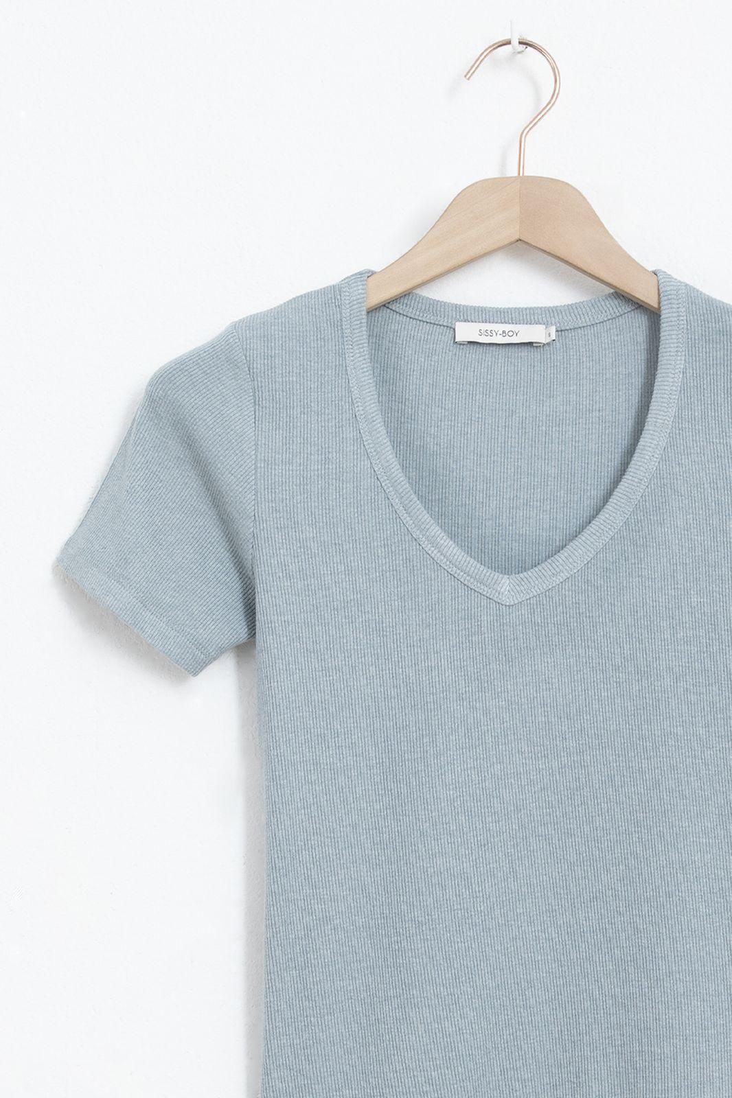 Blauw rib t-shirt met v-hals - Dames   Sissy-Boy