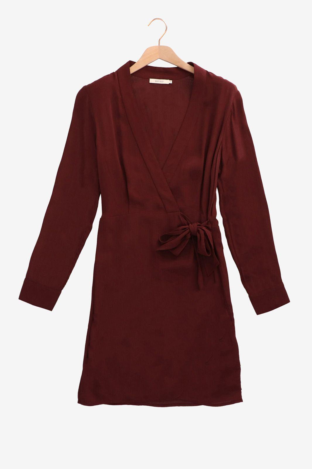 Bordeaux overslag jurk - Dames | Sissy-Boy