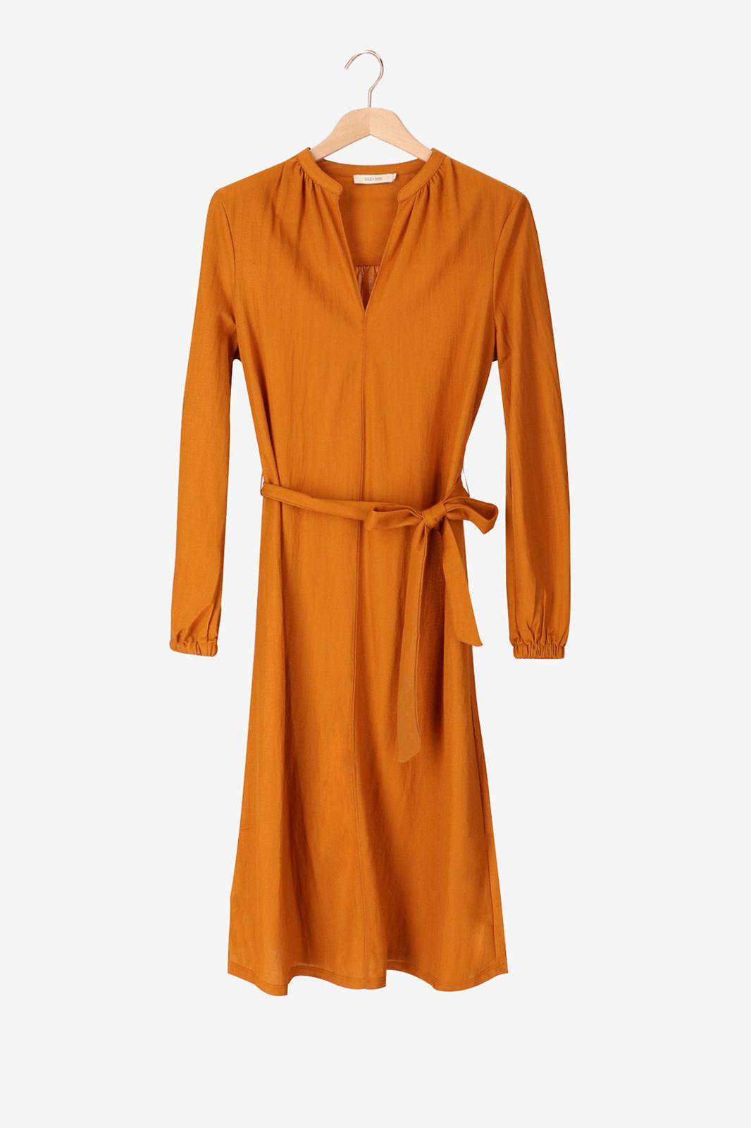 Roestbruine midi jurk met riempje