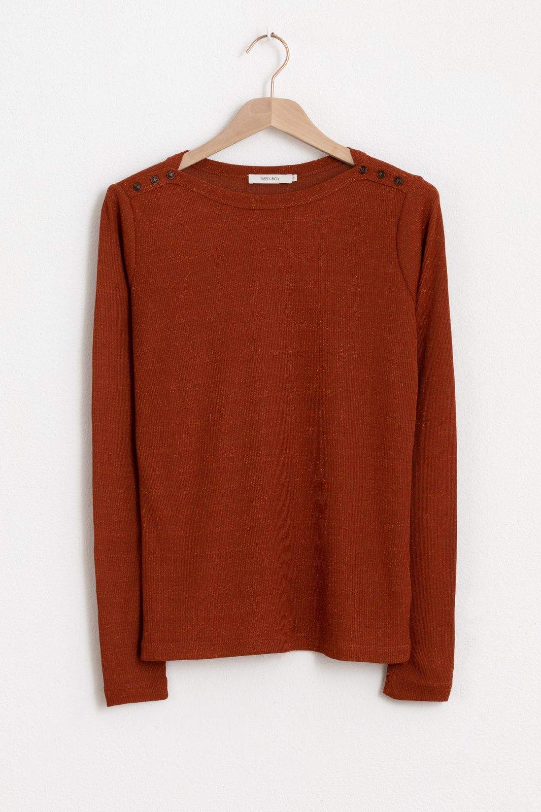 Bruin lurex T-shirt boatneck - Dames | Sissy-Boy