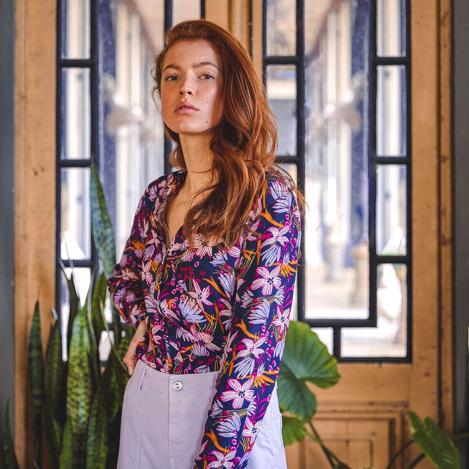 Donkerblauwe blouse met bloemenprint - Dames | Sissy-Boy