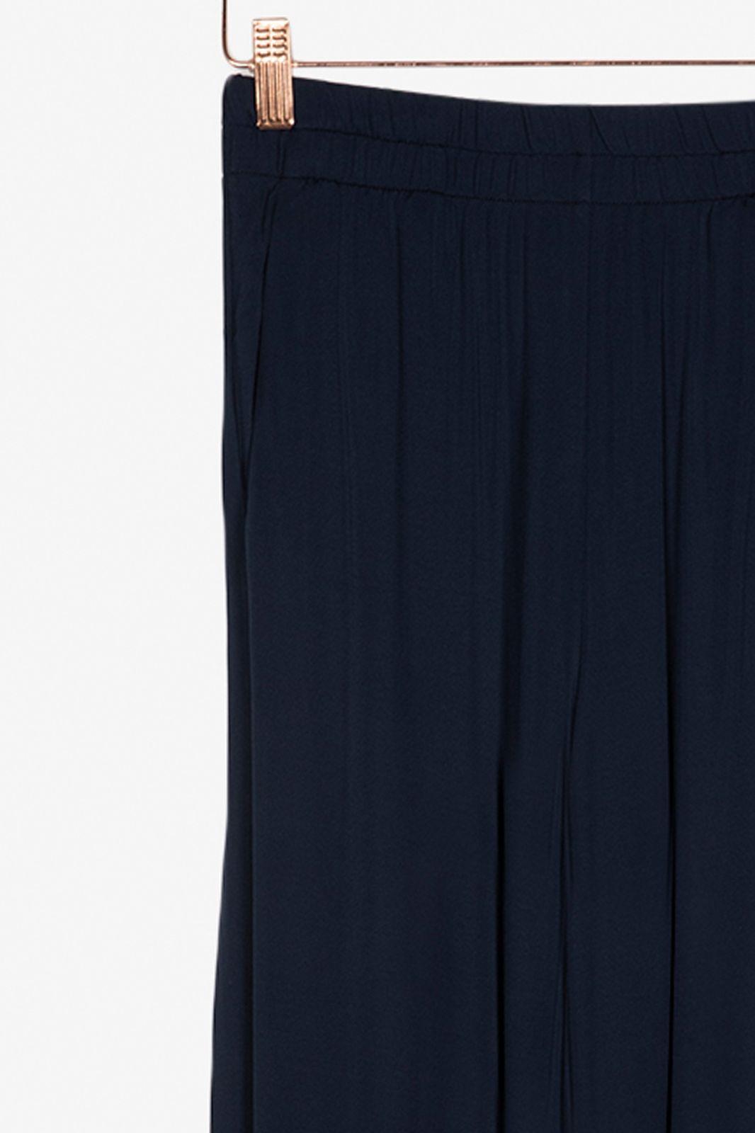 Donkerblauwe viscose broek