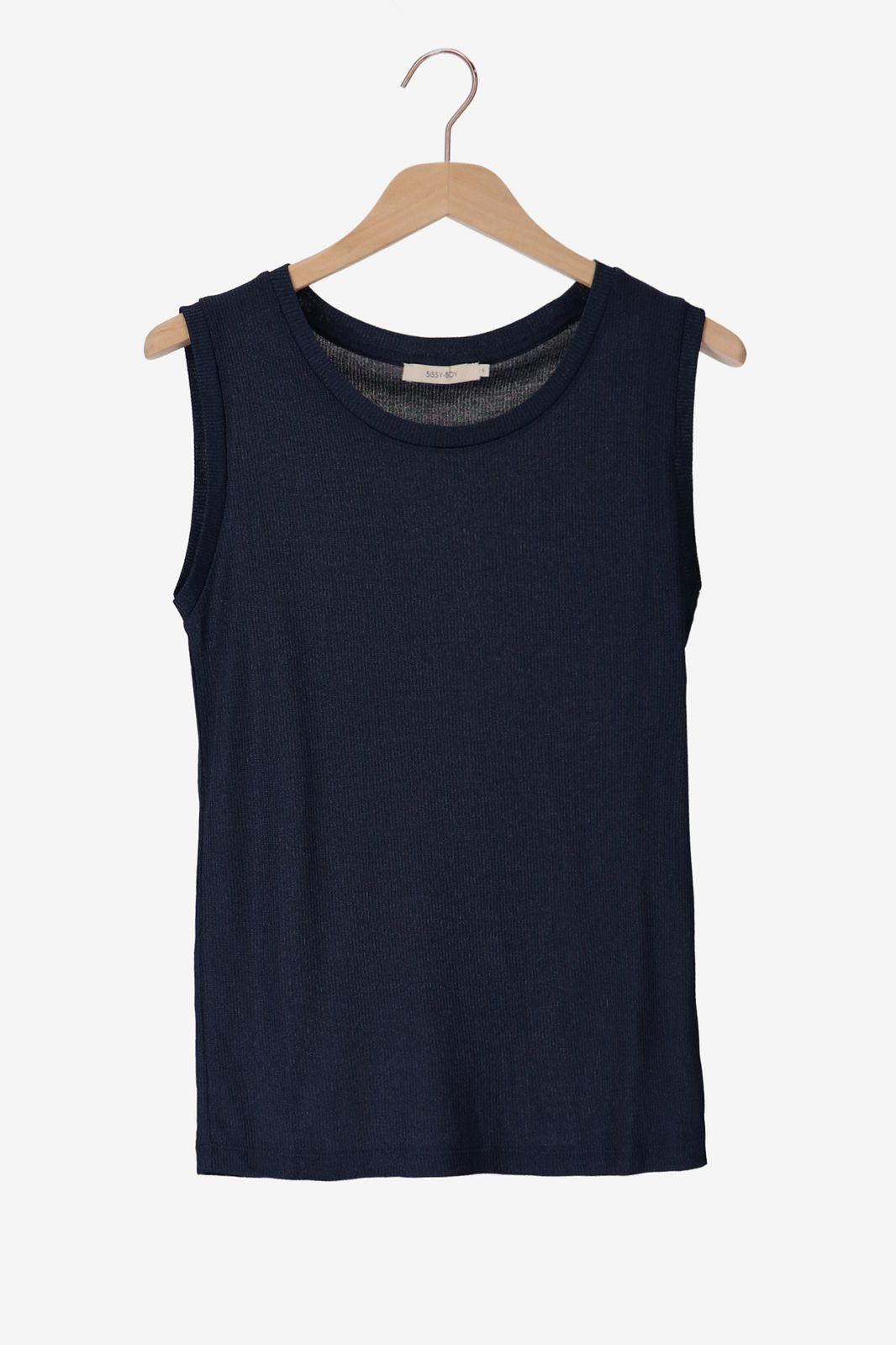 Donkerblauwe rib top lurex - Dames   Sissy-Boy