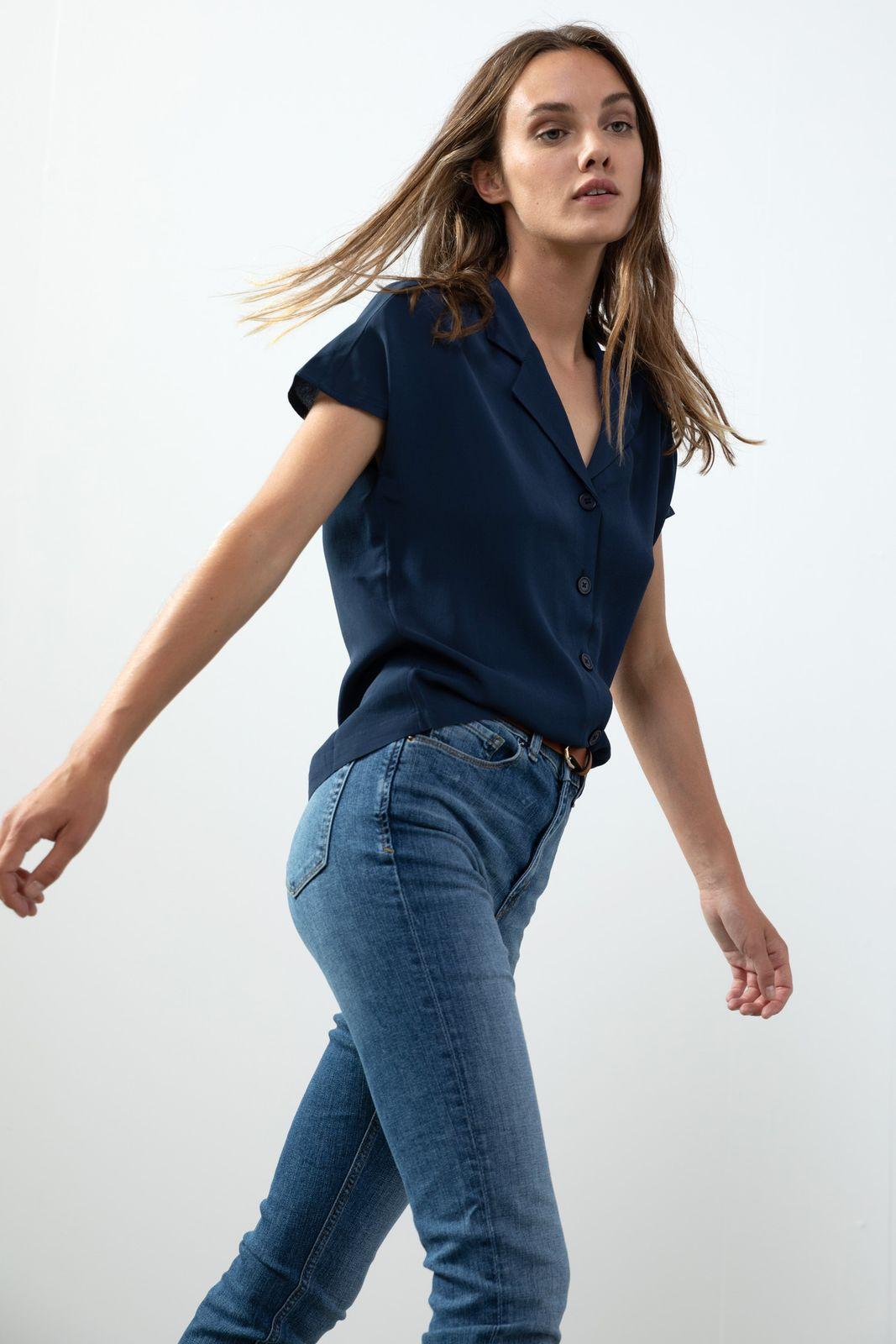 Donkerblauwe blouse met korte mouwen - Dames   Sissy-Boy