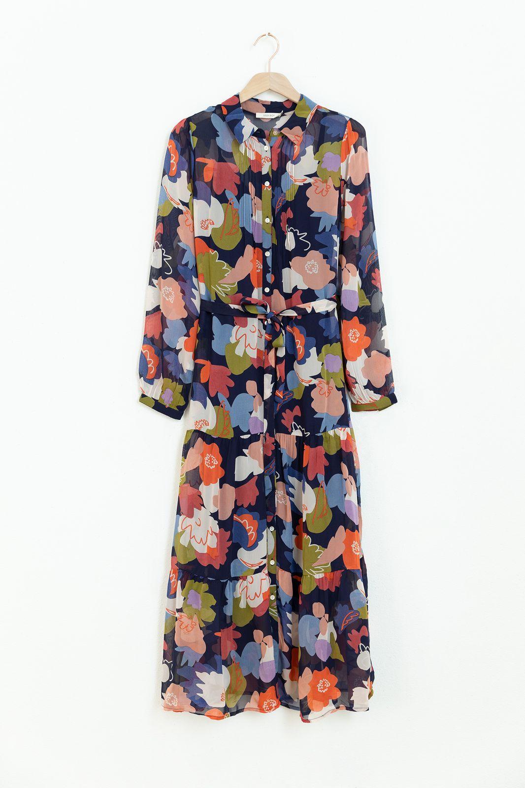 Blauwe jurk met all over print en ruffle details - Dames | Sissy-Boy