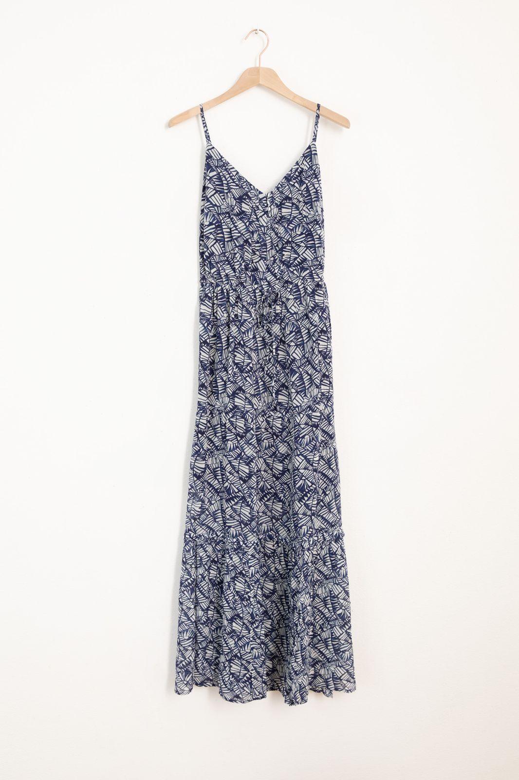 Donkerblauwe maxi jurk met all over print - Dames | Sissy-Boy