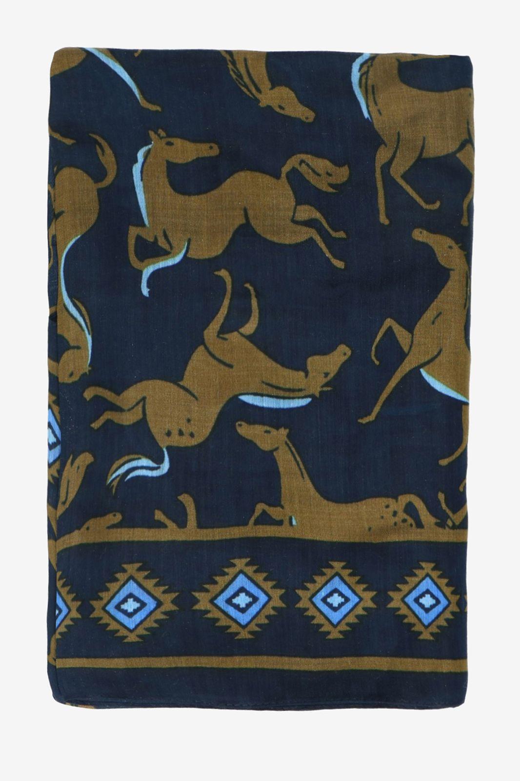 Donkergroene sjaal met paarden - Dames | Sissy-Boy