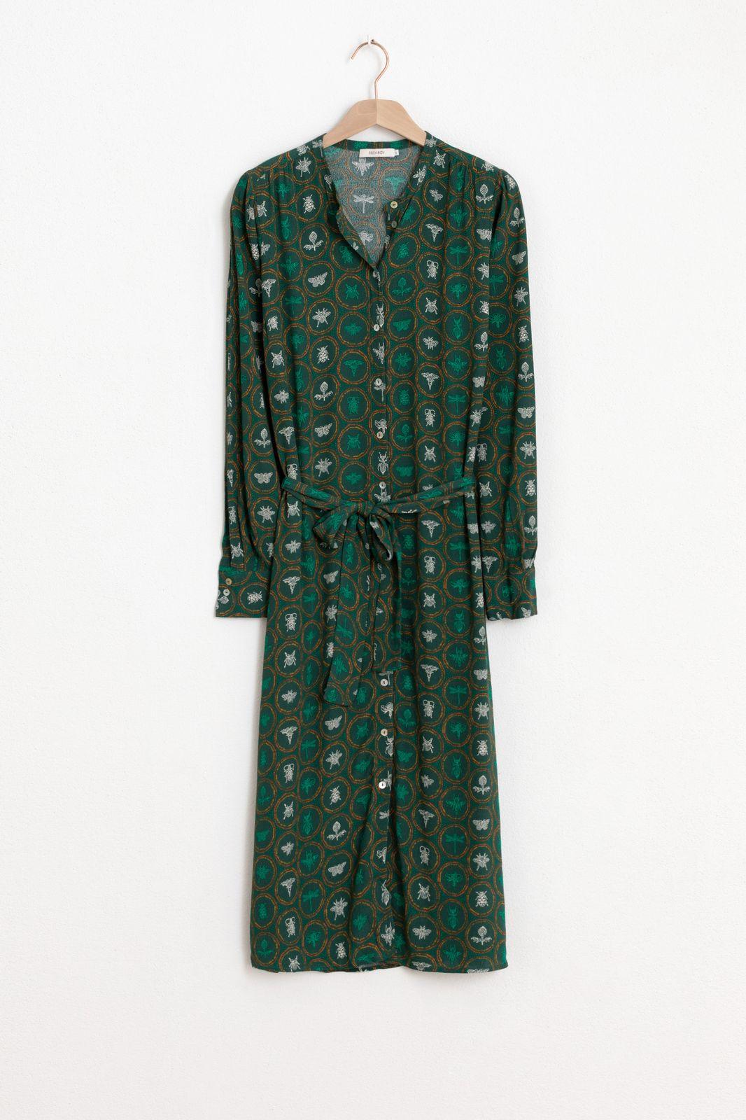 Groene midi jurk met print - Dames | Sissy-Boy
