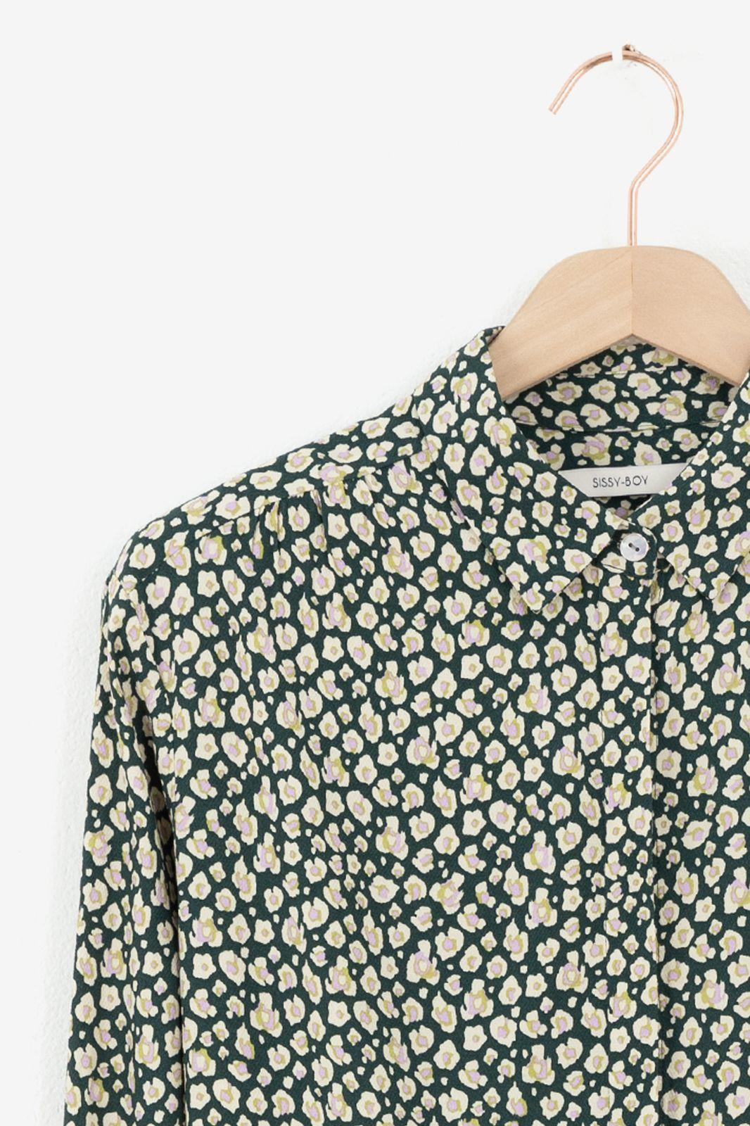 Donkergroene blouse met animal print - Dames | Sissy-Boy