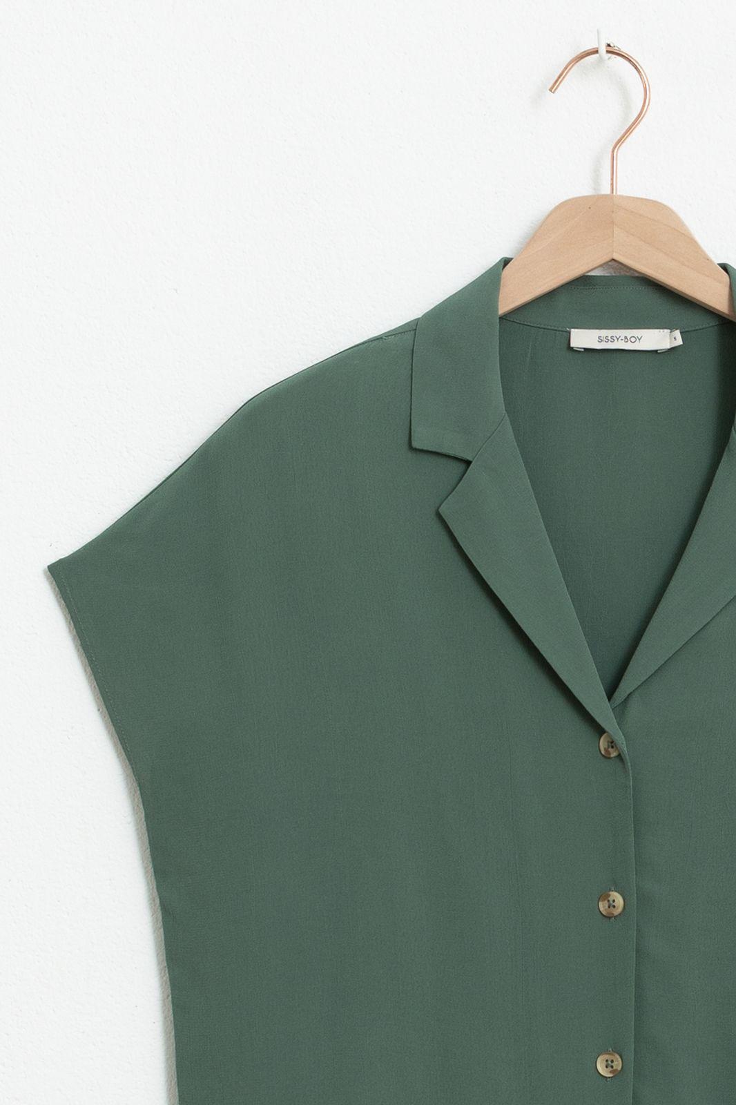 Donkergroene blouse met korte mouwen - Dames   Sissy-Boy