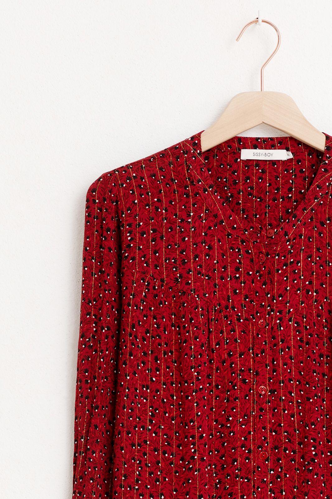Donkerrode blouse met bloemen print