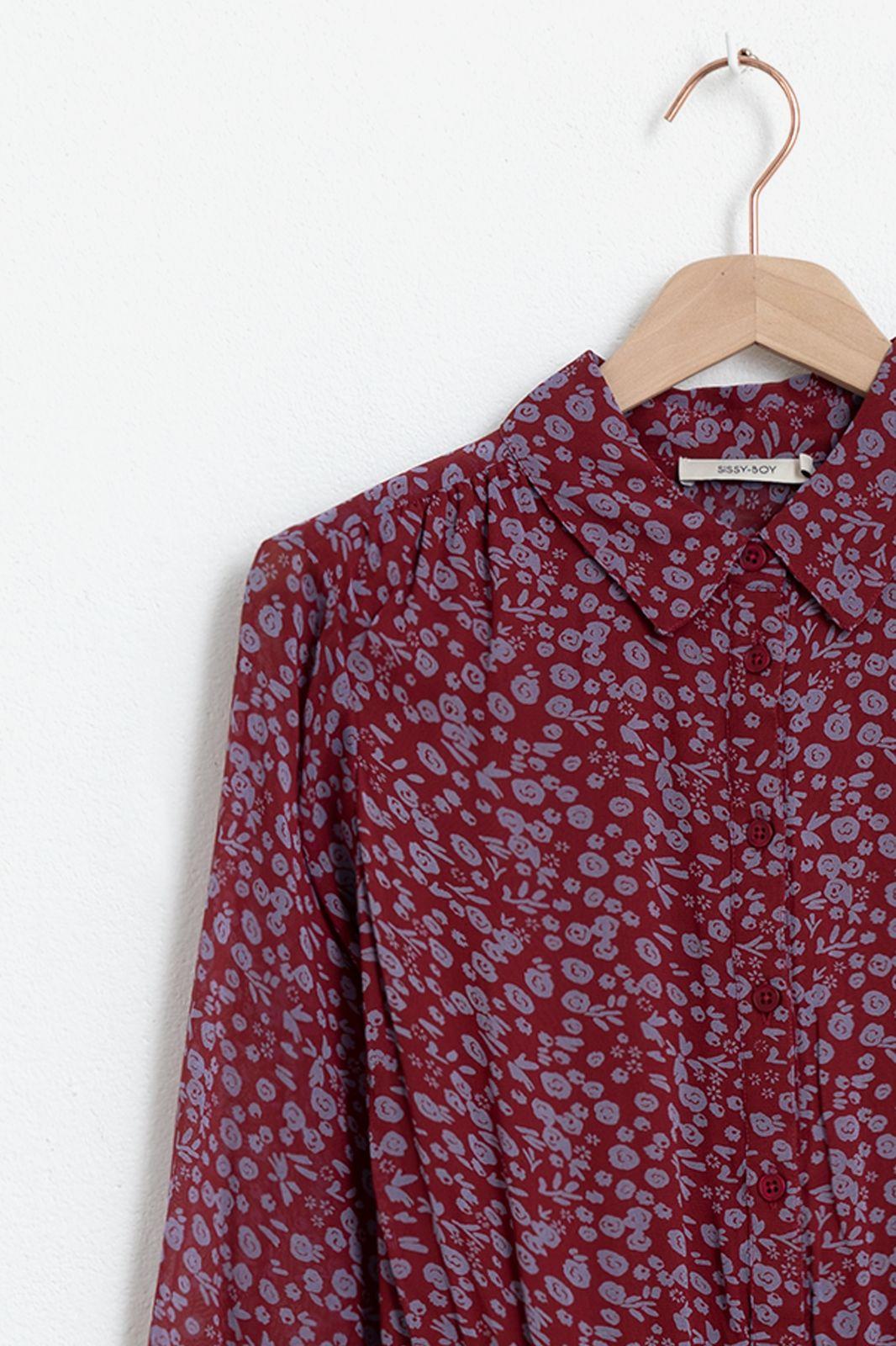 Donkerrode jurk met met all over print en ruffle details - Dames | Sissy-Boy