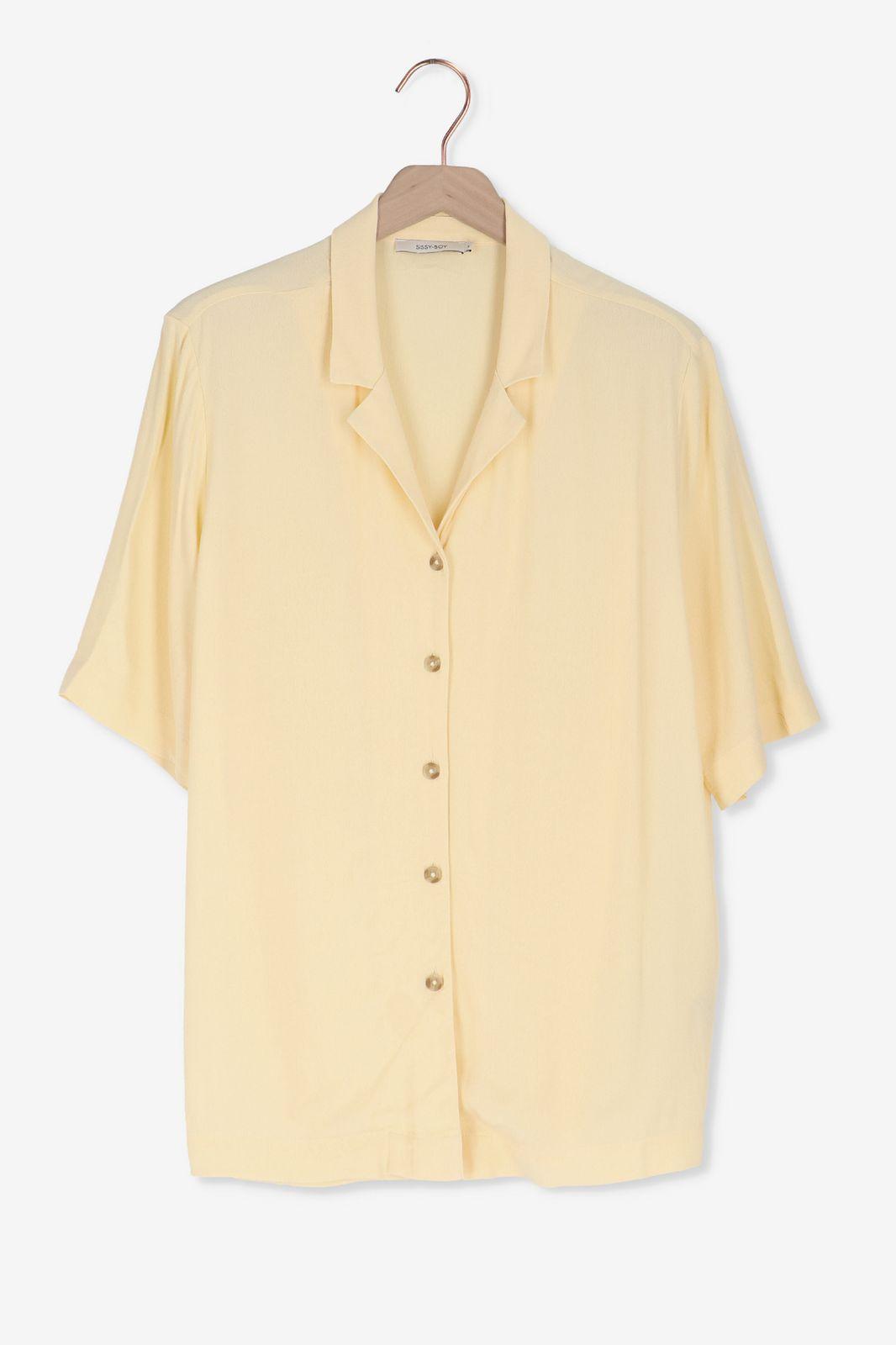 Lichtgele blouse korte mouwen