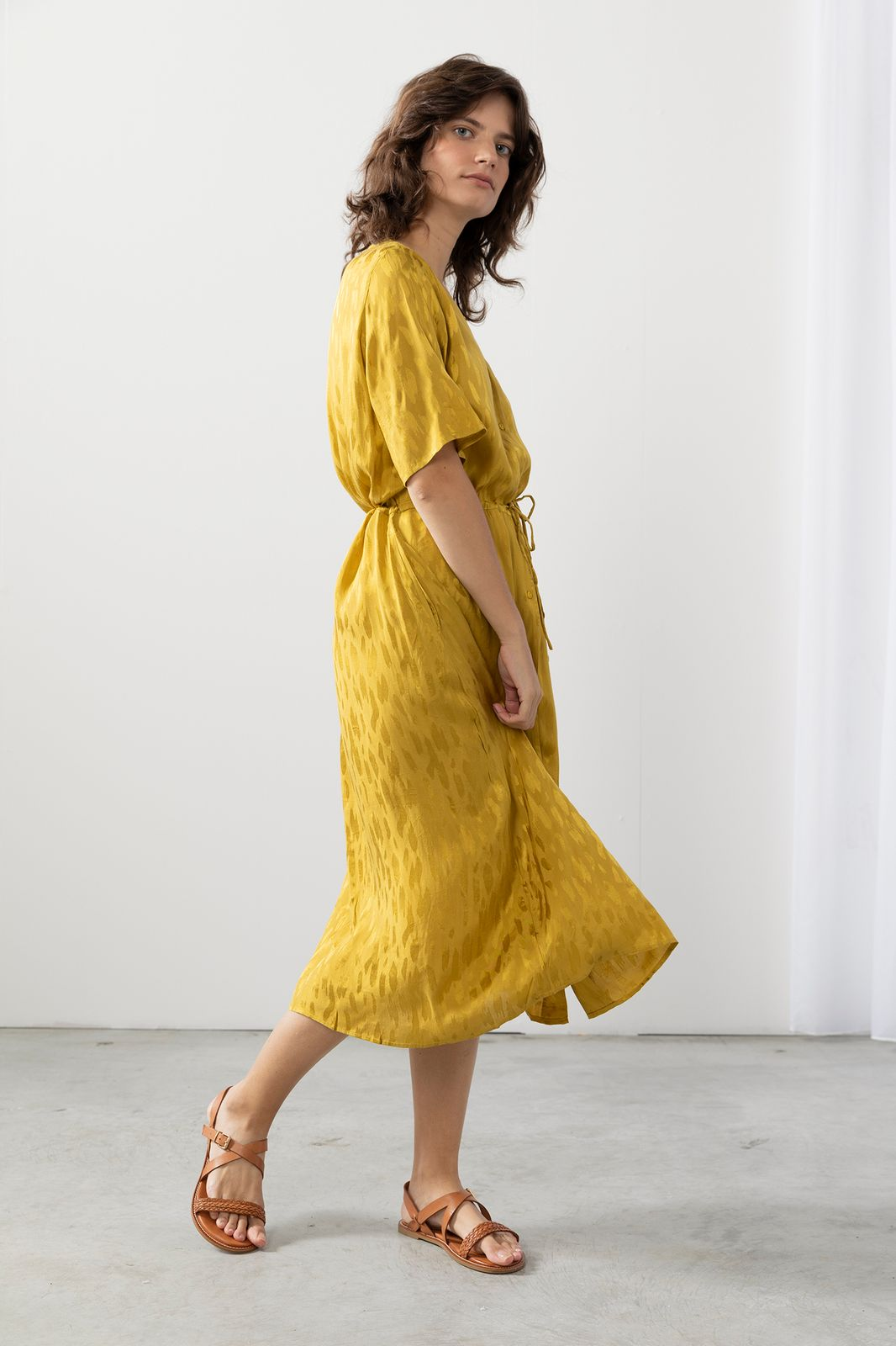 Groen/gele midi jurk met print - Dames   Sissy-Boy
