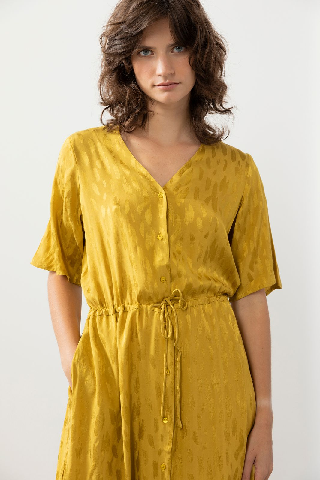 Groen/gele midi jurk met print