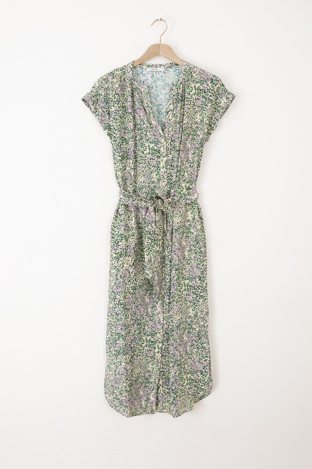 Multicolor midi jurk met all over bloemenprint