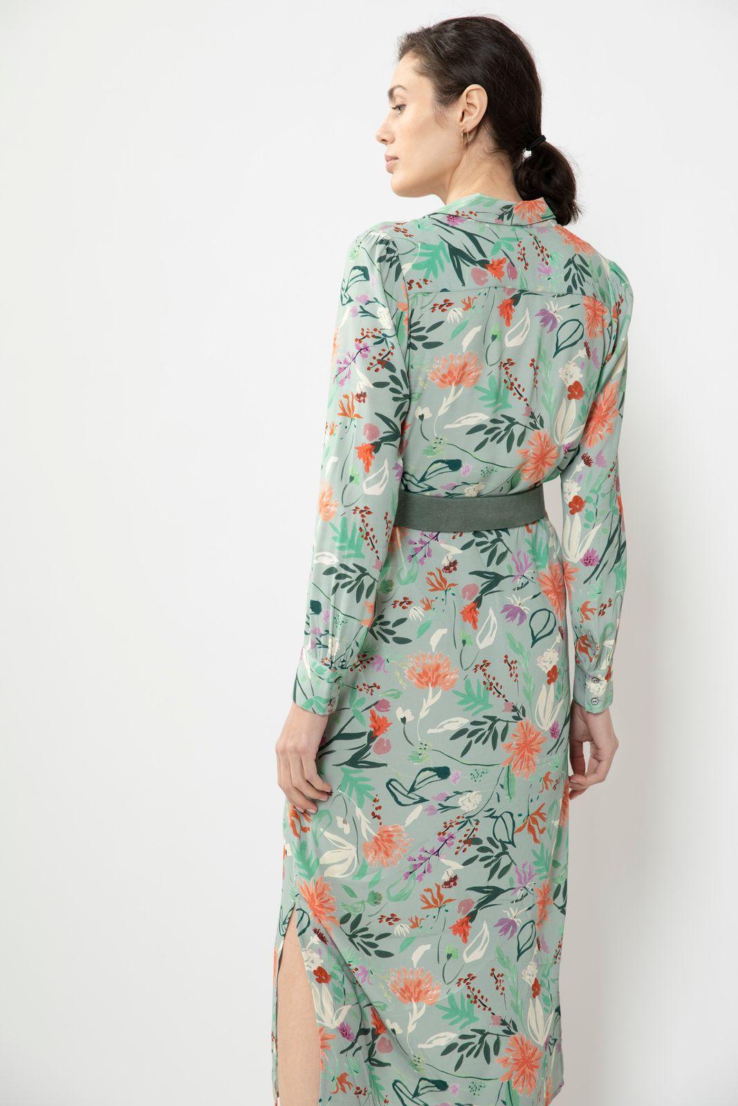 Multicolor maxi jurk met all over bloemenprint
