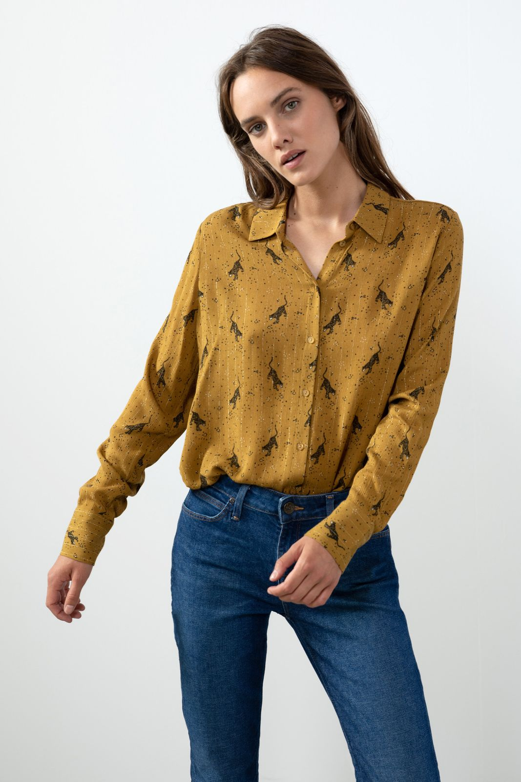 Groen/gele blouse met all over print