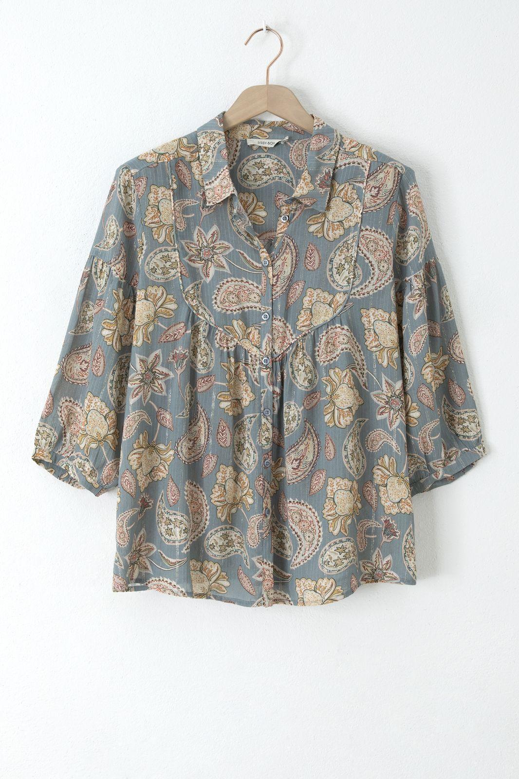 Groene a-line blouse met all over print en lurex - Dames   Sissy-Boy