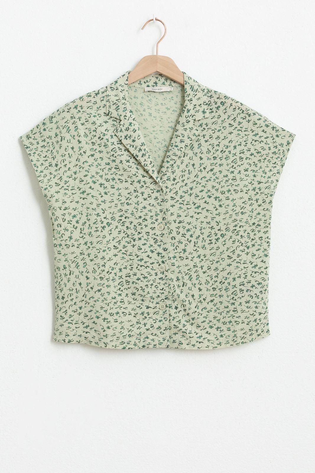 Groene blouse met all over print en korte mouwen - Dames | Sissy-Boy