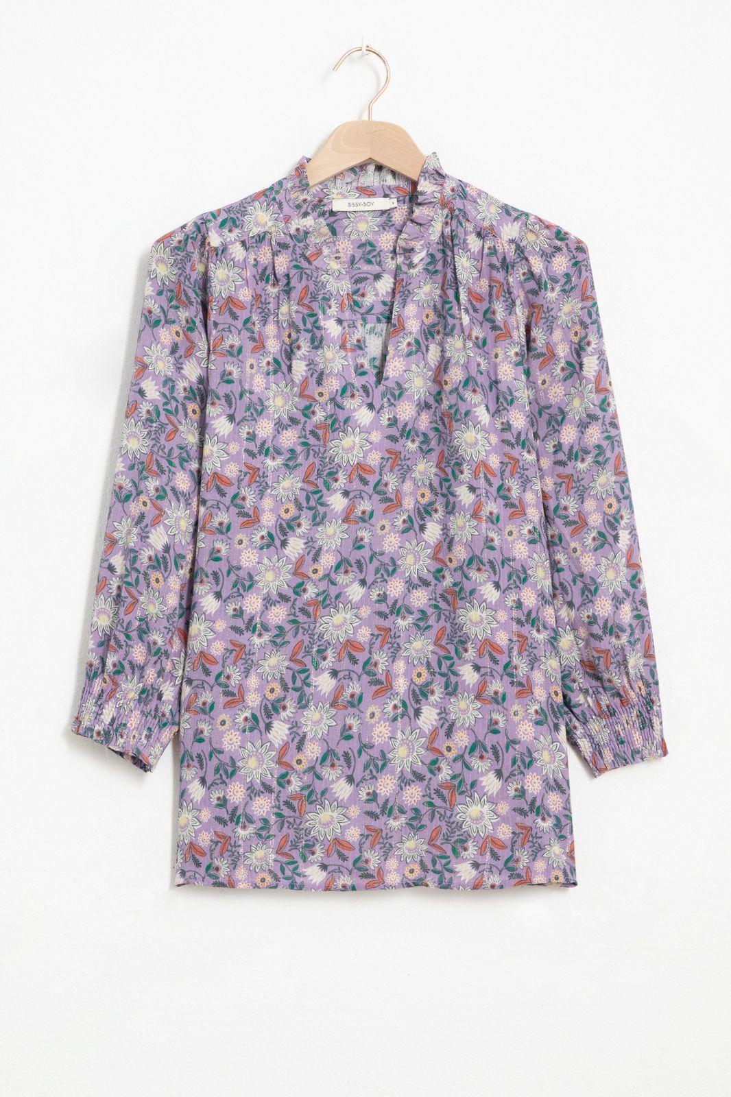 Lila blouse met all over bloemenprint en lurex