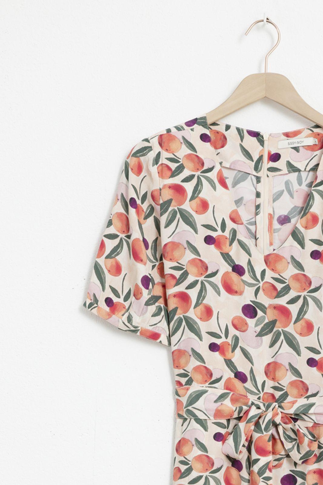 Lichtroze jumpsuit met all over sinaasappel print - Dames | Sissy-Boy