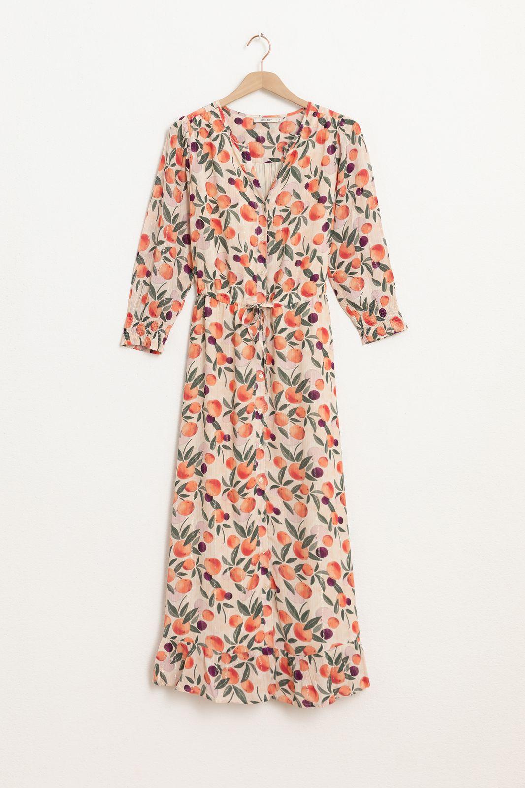 Lichtroze maxi jurk met all over sinaasappel print en lurex