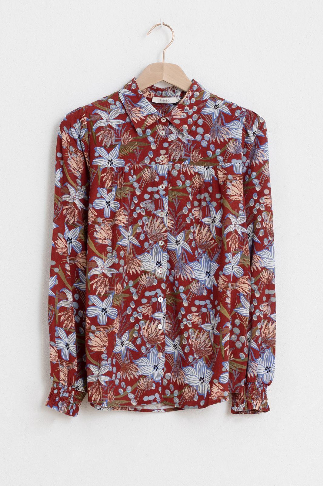 Rode blouse met all over bloemenprint - Dames | Sissy-Boy
