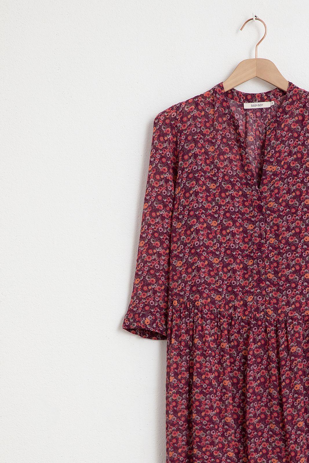 Paarse maxi ruffle dress met all over bloemen print - Dames | Sissy-Boy