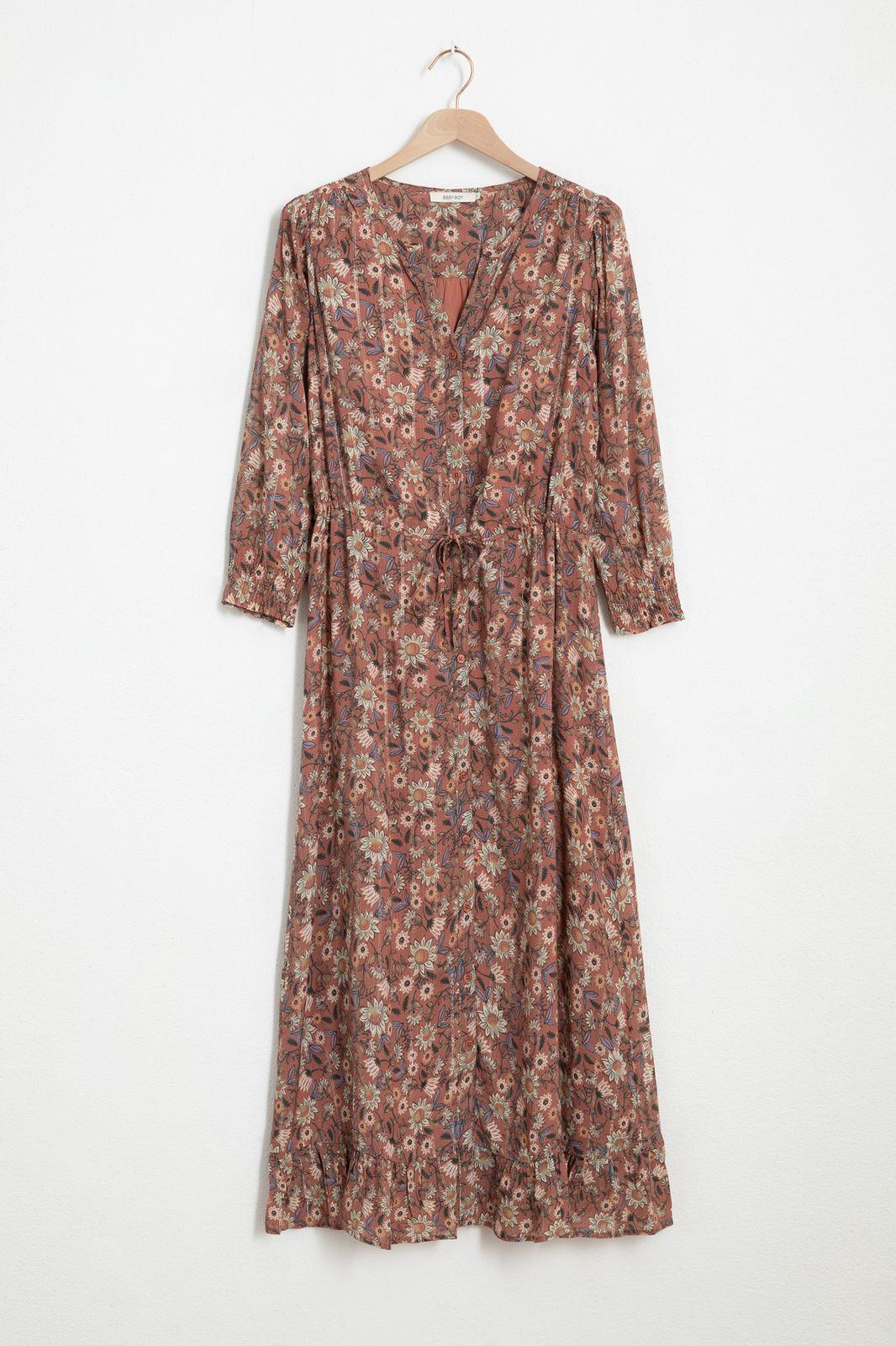 Multicolor maxi jurk met all over print en lurex