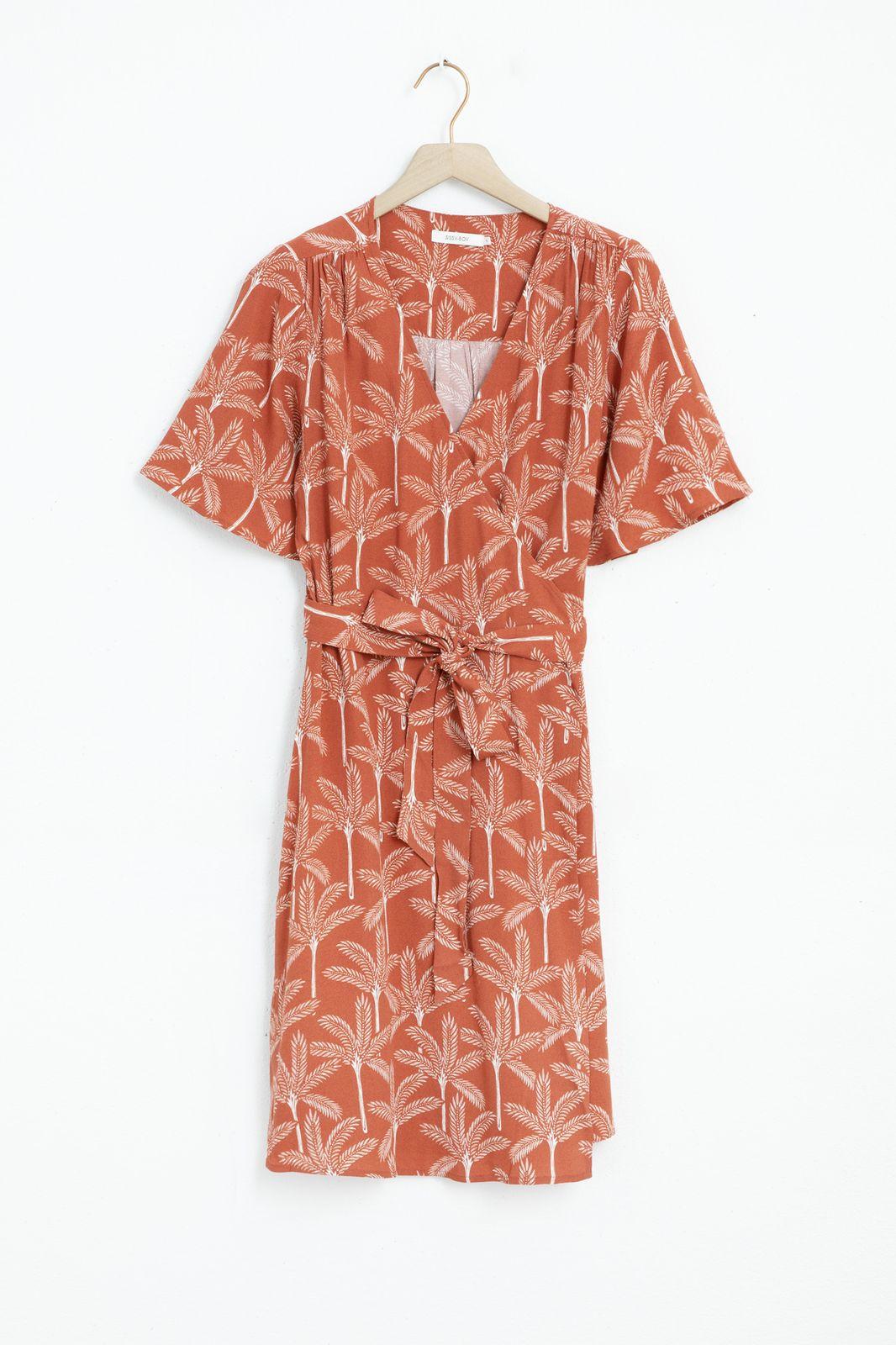 Rode wikkeljurk met all over palmboom print