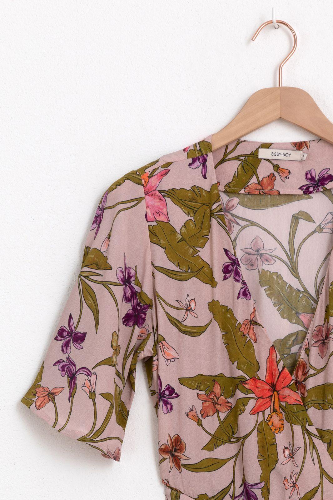 Roze wikkeljurk met print - Dames | Sissy-Boy