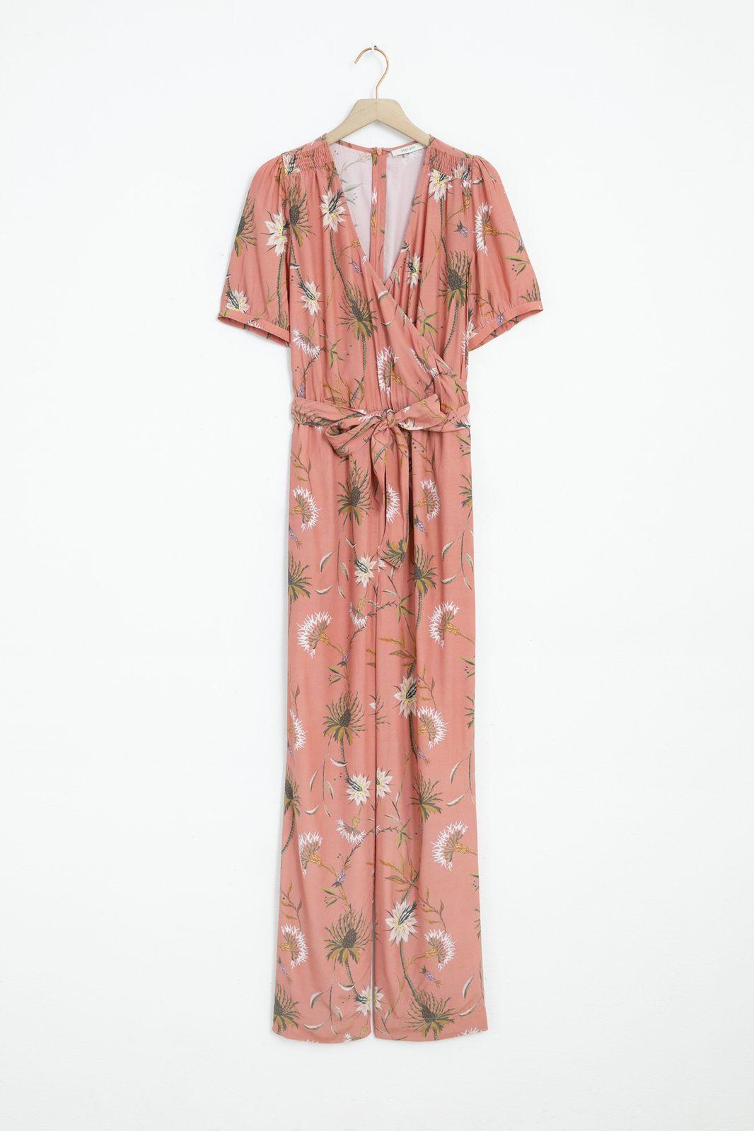 Roze jumpsuit met all over bloemenprint